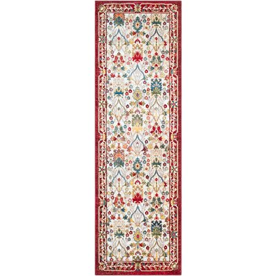 Napa Dark Red/Burnt Orange Floral Area Rug