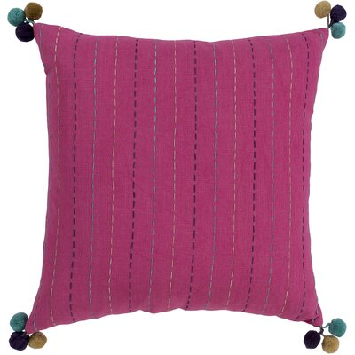 Dhaka Embroidered Cotton Pillow Cover Color: Pink
