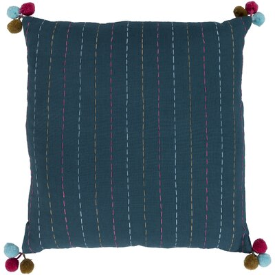 Dhaka Embroidered Cotton Pillow Cover Color: Teal