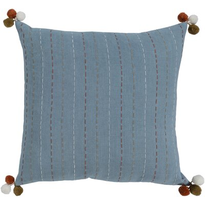Dhaka Embroidered Cotton Pillow Cover Color: Blue