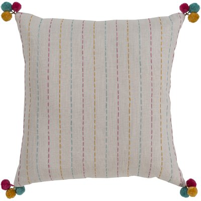 Dhaka Embroidered Cotton Pillow Cover Color: Off White