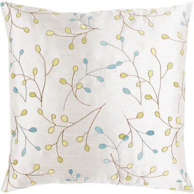 Blossom II Elegant Embroidered Throw Pillow Size: 18 H x 18 W x 4 D, Type/Fill: Pillow With Down Insert