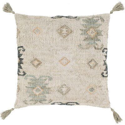 Lenora Handmade Throw Pillow Color: Khaki/Ivory, Size: 30 H x 30 W x 5 D, Type/Fill: Pillow With Down Insert