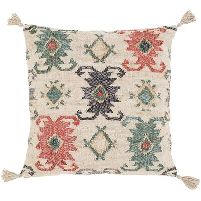Lenora Handmade Throw Pillow Color: Khaki/Jute Blue, Size: 30 H x 30 W x 5 D, Type/Fill: Pillow With Down Insert