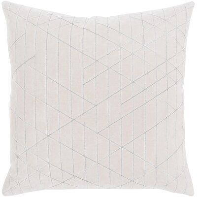 Regan Cotton Throw Pillow Color: Beige, Size: 22 H x 22 W x 0.25 D, Type/Fill: Cover