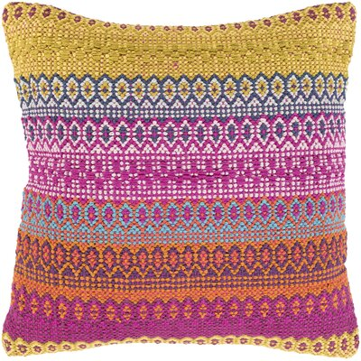 Talara Handmade Cotton Throw Pillow Color: Pink, Size: 18 H x 18 W x 4 D, Type/Fill: Pillow With Polyester Insert