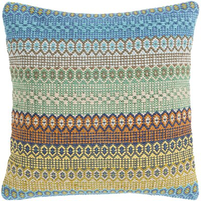 Talara Handmade Cotton Throw Pillow Color: Green/Blue, Size: 20 H x 20 W x 4 D, Type/Fill: Pillow With Down Insert