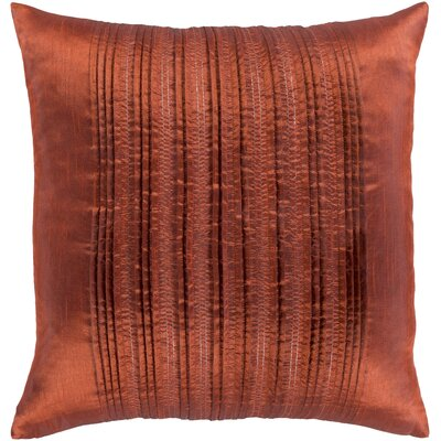 Burlington Elegant Pleated Throw Pillow Color: Burnt Orange, Size: 18 H x 18 W x 4 D, Type/Fill: Pillow With Down Insert