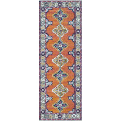 Arteaga Persian Inspired Orange/Blue Area Rug Rug Size: 27 x 73