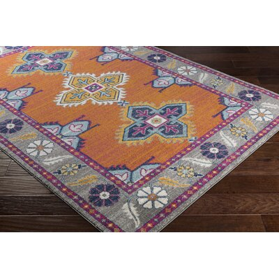 Downs Persian Inspired Orange/Blue Area Rug Rug Size: 27 x 73