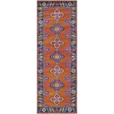 Arteaga Persian Inspired Blue/Orange Area Rug Rug Size: 27 x 73