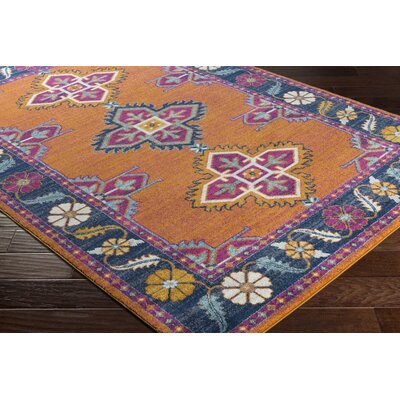 Downs Persian Inspired Blue/Orange Area Rug Rug Size: 27 x 73