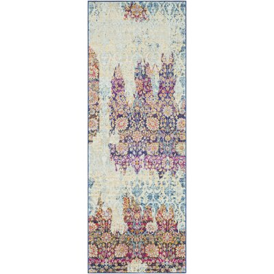 Downs Persian Distressed Vintage Purple/Cream Area Rug Rug Size: 27 x 73, Color: Orange/Saffrom