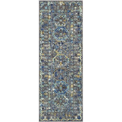 Arteaga Traditional Vintage Blue/Gray Area Rug Rug Size: 27 x 73