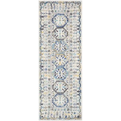 Downs Traditional Vintage Cream/Blue Area Rug Rug Size: 27 x 73