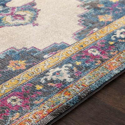 Lillo Distressed Traditional Blue/Yellow Area Rug Rug Size: Runner 23 x 76