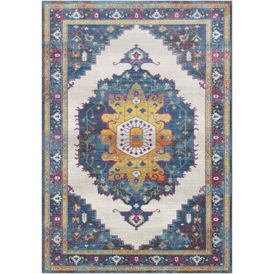 Lillo Distressed Traditional Blue/Yellow Area Rug Rug Size: Rectangle 2 x 3