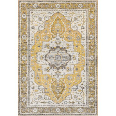 Lillo Distressed Traditional Gold/Gray Area Rug Rug Size: Rectangle 53 x 76