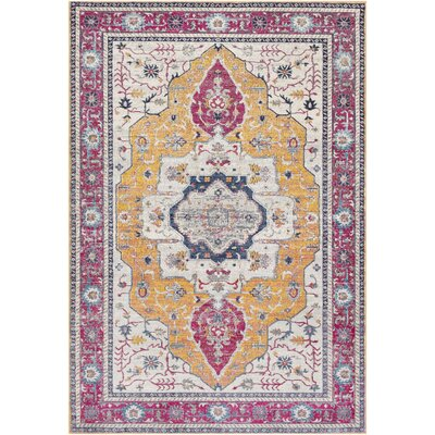 Lillo Traditional Pink/Gold Area Rug Rug Size: Rectangle 2 x 3