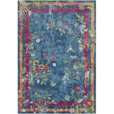 Lillo Vibrant Floral Blue/Magenta Area Rug Rug Size: Rectangle 53 x 76