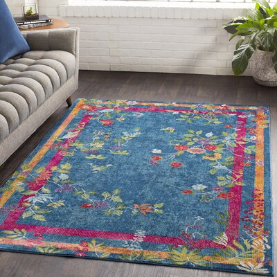 Lillo Vibrant Floral Blue/Magenta Area Rug Rug Size: Runner 23 x 76
