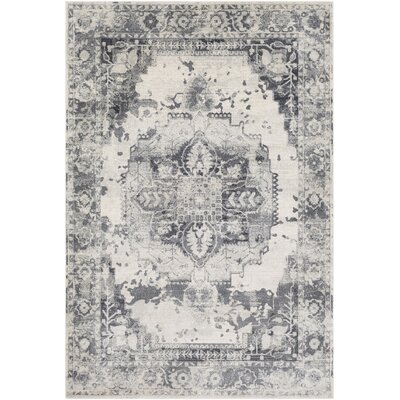 Lillo Floral Gray/White Area Rug Rug Size: Rectangle 53 x 76