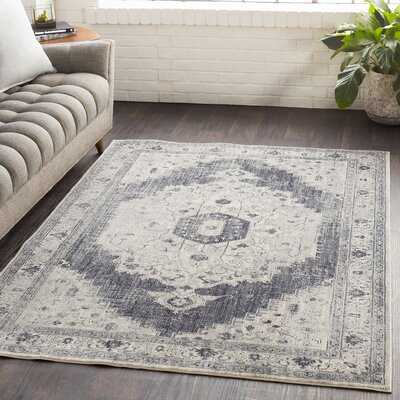Lillo Distressed Vintage Gray/Ivory Area Rug Rug Size: Runner 27 x 76
