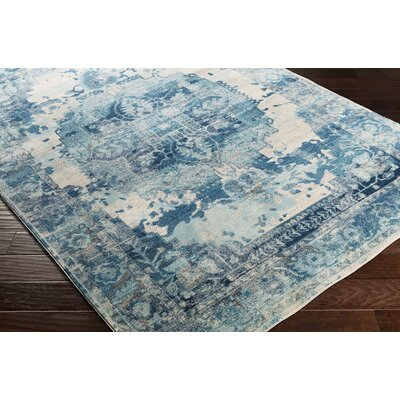 Lillo Distressed Sky Blue/Ivory Area Rug Rug Size: Runner 27 x 76