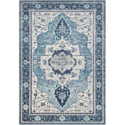 Lillo Distressed Sky Blue Area Rug Rug Size: Rectangle 53 x 76