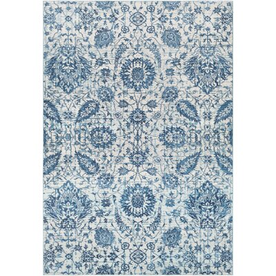 Lillo Floral Blue Area Rug Rug Size: Rectangle 53 x 76