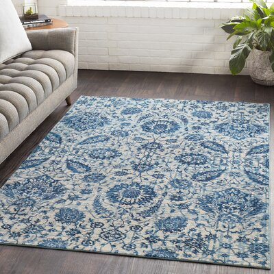 Lillo Floral Blue Area Rug Rug Size: Rectangle 710 x 103