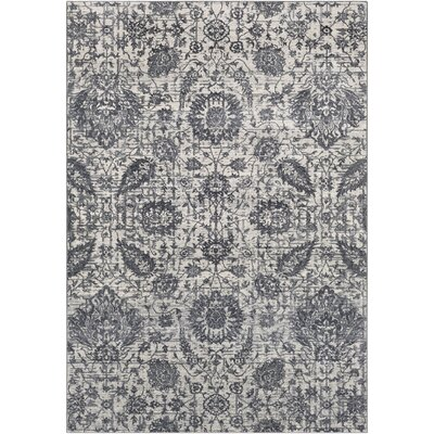 Lillo Floral Gray Area Rug Rug Size: Rectangle 53 x 76