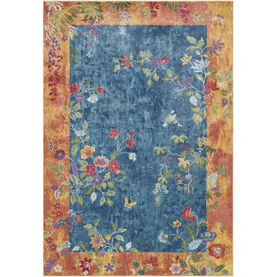 Lillo Vibrant Floral Blue/Burnt Area Rug Rug Size: Rectangle 2' x 3'