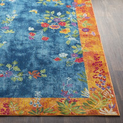 Lillo Vibrant Floral Blue/Burnt Area Rug Rug Size: Runner 27 x 76