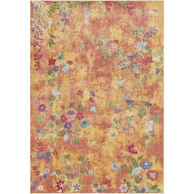 Lillo Vibrant Floral Yellow/Orange Area Rug Rug Size: Rectangle 2' x 3'
