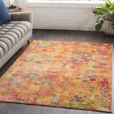 Lillo Vibrant Floral Yellow/Orange Area Rug Rug Size: Runner 2'7