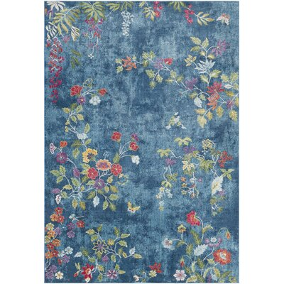 Lillo Vibrant Floral Blue Area Rug Rug Size: Rectangle 710 x 103