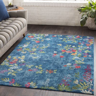Lillo Vibrant Floral Blue Area Rug Rug Size: Rectangle 53 x 76