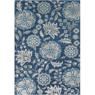 Niesen Floral Navy/Light Blue Area Rug Rug Size: Rectangle 2 x 3