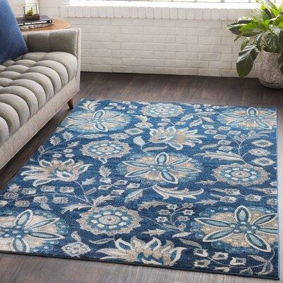 Niesen Floral Navy/Light Blue Area Rug Rug Size: Runner 27 x 76