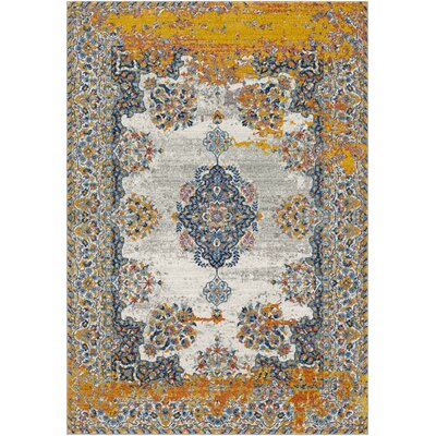 Leonardo Distressed Traditional Blue/Yellow Area Rug Rug Size: Rectangle 53 x 73