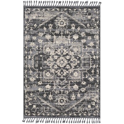 Tamika Distressed Vintage Charcoal/Beige Area Rug Rug Size: Rectangle 93 x 121