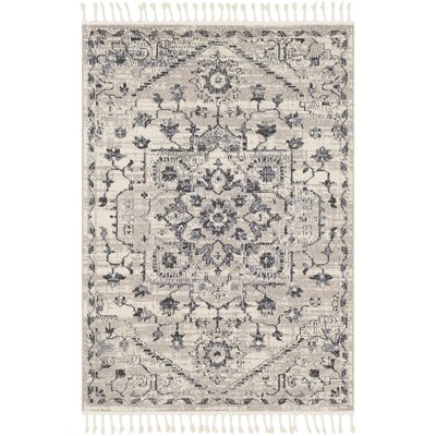 Tamika Distressed Vintage Charcoal/Ivory Area Rug Rug Size: Rectangle 93 x 121