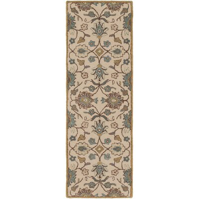 Cary Traditional Hand-Tufted Wool Taupe/Teal Area Rug