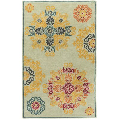Makenzie Medallion Sea Foam Hand-Tufted Wool Teal Area Rug