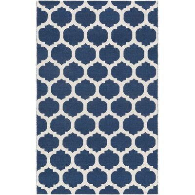 Stonebridge Hand-Woven Wool Prussian Blue/Light Gray Area Rug Rug Size: Rectangle 5 x 8