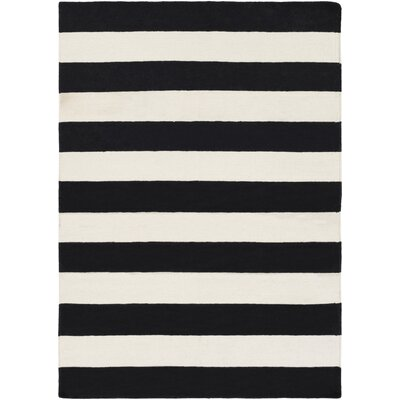 Stonebridge Hand-Woven Wool Black/White Area Rug Rug Size: Runner 2 x 8