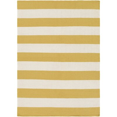 Stonebridge Hand-Woven Wool Pale Orange/White Area Rug Rug Size: Rectangle 5 x 7