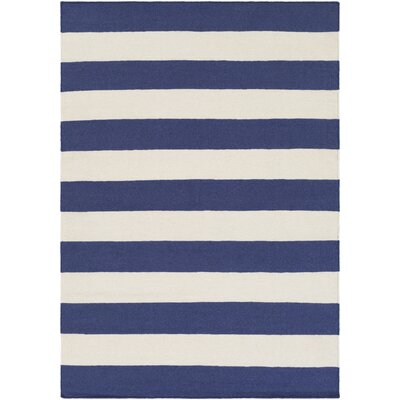 Stonebridge Hand-Woven Wool Navy/White Area Rug Rug Size: Rectangle 8 x 10