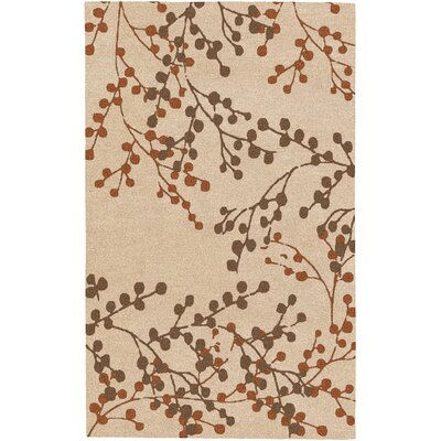 Dedrick Hand-Tufted Wool Champagne/Brick Area Rug Rug Size: Rectangle 8 x 10